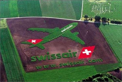 SwissAir Crop Circle Ad