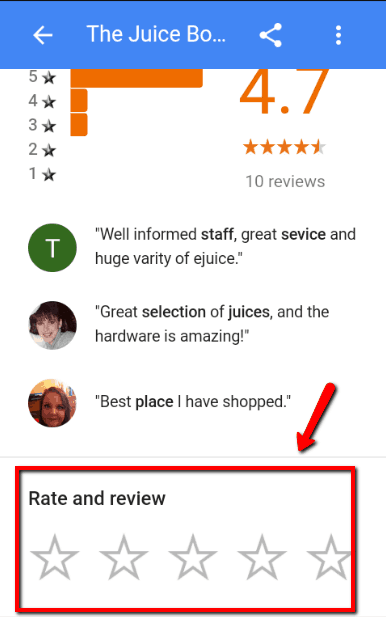 How to submit a Google local business review using a mobile device